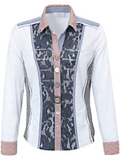 Just White - Bluse in innovativem Material-Mix